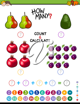 Cartoon Illustration of Educational Mathematical Counting and Addition Task for Children