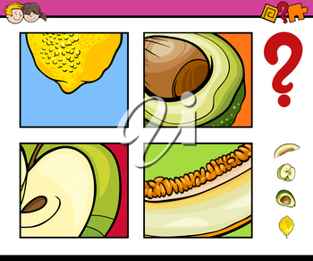 Cartoon Illustration of Educational Activity Task of Guessing Fruits for Children