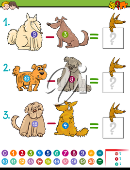 Cartoon Illustration of Educational Mathematical Subtraction Game for Children with Dog Characters
