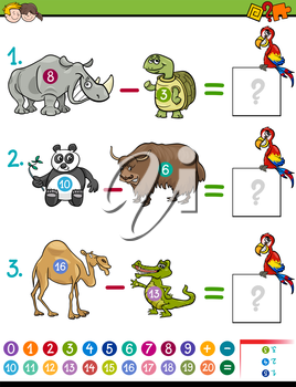 Cartoon Illustration of Educational Mathematical Subtraction Activity Game for Kids with Animal Characters