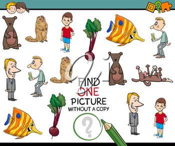 Cartoon Illustration of Educational Activity of Finding Single Picture for Children