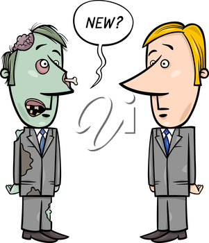 Concept Cartoon Illustration of Zombie Businessman and a new Employee