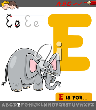 Educational Cartoon Illustration of Letter E from Alphabet with Elephant Animal Character for Children