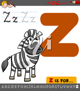 Educational Cartoon Illustration of Letter Z from Alphabet with Zebra Animal Character for Children