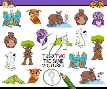 Cartoon Illustration of Finding Two Identical Pictures Educational Game for Kids
