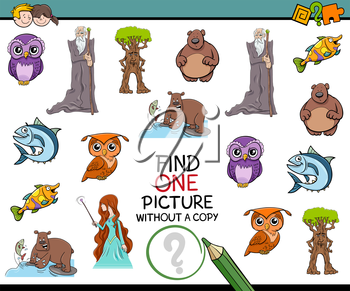 Cartoon Illustration of Educational Game of Finding Single Picture for Preschool Kids