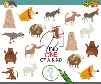 Cartoon Illustration of Find One of a Kind Educational Activity for Preschool Children