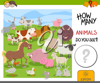 Cartoon Illustration of Educational Counting Activity for Kids with Cute Animal Characters