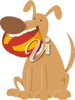 Cartoon Illustration of Dog Animal Character with Ball
