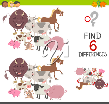 Cartoon Illustration of Finding the Differences Educational Game for Children with Farm Animals Characters