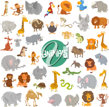 Cartoon Illustration of Cute Wild Animal Characters Huge Set