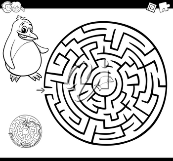 Cartoon Illustration of Education Maze or Labyrinth Game for Children with Penguin and Fish Coloring Page