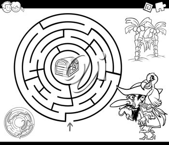 Black and White Cartoon Illustration of Education Maze or Labyrinth Game for Children with Pirate and Treasure Chest Coloring Page