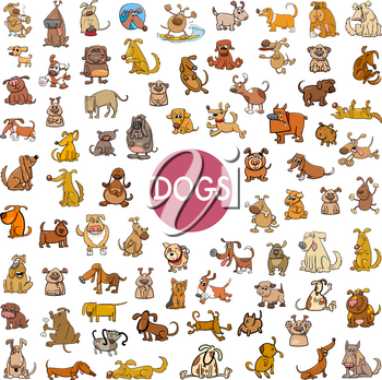 Cartoon Illustration of Dogs Pet Animal Characters Big Set