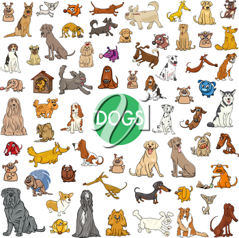 Cartoon Illustration of Dogs Pet Animal Characters Big Collection