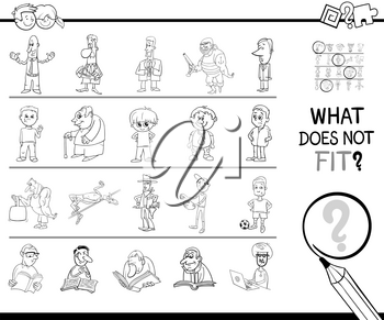 Black and White Cartoon Illustration of Finding Picture that does not Fit with the Rest in a Row Educational Activity for Kids Coloring Book