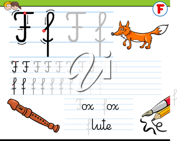 Cartoon Illustration of Writing Skills Practice with Letter F for Preschool and Elementary Age Children