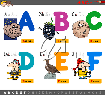 Cartoon Illustration of Capital Letters Alphabet Educational Set for Reading and Writing Learning for Children from A to F
