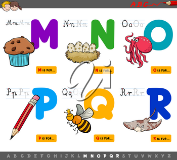 Cartoon Illustration of Capital Letters Alphabet Educational Set for Reading and Writing Learning for Children from M to R