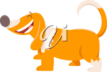 Cartoon Illustration of Happy Spotted Dog or Puppy Animal Character
