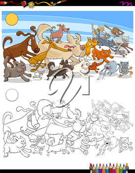 Cartoon Illustration of Running Cats and Dogs Animal Characters Group Coloring Book Activity