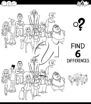 Black and White Cartoon Illustration of Finding Six Differences Between Pictures Educational Task for Children with People Characters Group Coloring Book