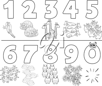 Black and White Cartoon Illustration of Educational Numbers Set from One to Nine with Funny Animals Coloring Book