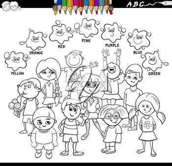 Black and White Cartoon Illustration of Basic Colors Educational Worksheet with Happy Children Characters Coloring Book
