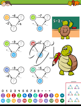 Cartoon Illustration of Educational Mathematical Subtraction Puzzle Game for Children