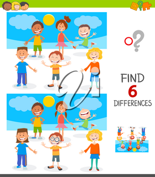 Cartoon Illustration of Finding Six Differences Between Pictures Educational Game for Children with Happy Kids and Teen Characters Group