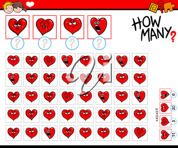 Illustration of Educational Counting Task for Children with Cartoon Hearts Valentine Characters