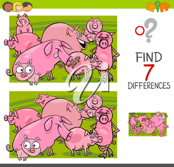 Cartoon Illustration of Finding Seven Differences Between Pictures Educational Activity Game for Kids with Pigs Farm Animal Characters Group