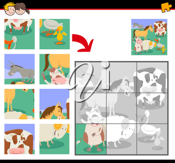 Cartoon Illustration of Educational Jigsaw Puzzle Activity Game for Children with Cute Farm Animals Group