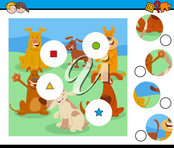 Cartoon Illustration of Educational Match the Pieces Jigsaw Puzzle Game for Children with Dogs and Puppies Animal Characters
