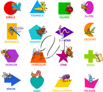 Educational Cartoon Illustration of Basic Geometric Shapes with Captions and Insects Animal Characters for Children