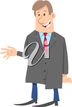 Cartoon Illustration of Man or Boss Businessman Character