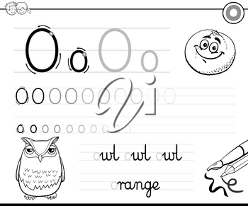 Black and White Cartoon Illustration of Writing Skills Practice with Letter O Worksheet for Preschool and Elementary Age Children Coloring Book