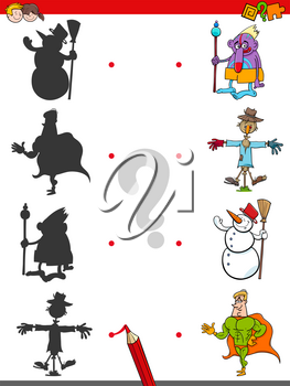 Cartoon Illustration of Match the Shadows Educational Activity Game for Children with Fantasy Characters
