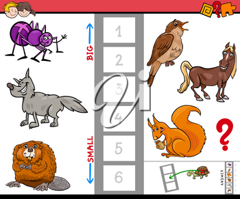 Cartoon Illustration of Educational Game of Finding the Biggest and the Smallest Animal Characters
