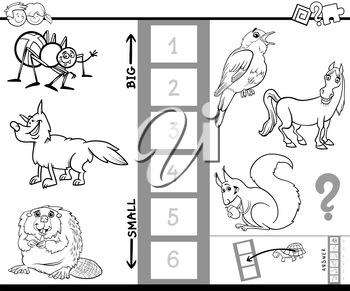 Black and White Cartoon Illustration of Educational Game of Finding the Biggest and the Smallest Animal Characters Coloring Book