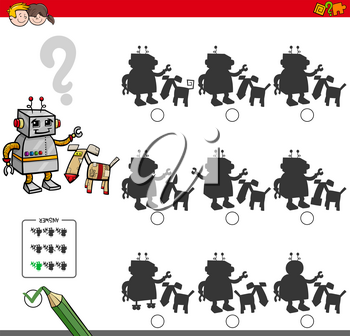 Cartoon Illustration of Finding the Shadow without Differences Educational Activity for Children with Two Robotic Characters