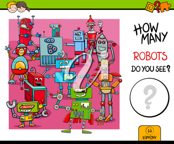 Cartoon Illustration of Educational Counting Activity Game for Children with Robot Fantasy Characters