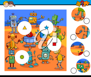 Cartoon Illustration of Educational Match the Pieces Jigsaw Puzzle Game for Children with Robots Fantasy Characters
