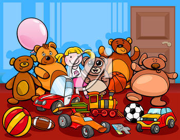 Cartoon Illustration of Toys Objects Characters Group