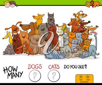 Cartoon Illustration of Educational Counting Game for Children with Dogs and Cats Animal Characters Group