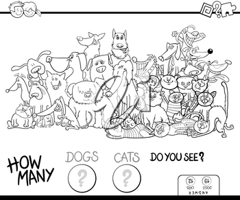 Black and White Cartoon Illustration of Educational Counting Game for Children with Dogs and Cats Animal Characters Group Coloring Book