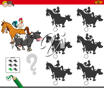 Cartoon Illustration of Finding the Shadow without Differences Educational Activity for Children with Farm Animal Characters