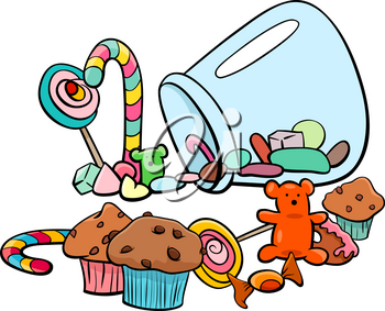 Cartoon Illustration of Sweet Food like Candy or Cakes