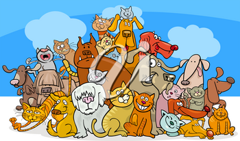 Cartoon Illustration of Funny Dogs and Cats Characters Group