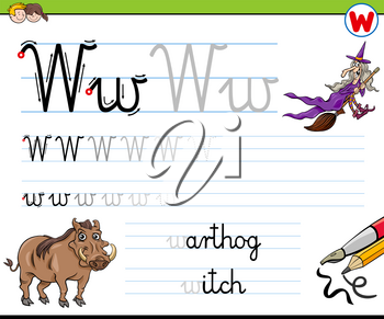 Cartoon Illustration of Writing Skills Practice with Letter W Worksheet for Preschool and Elementary Age Children